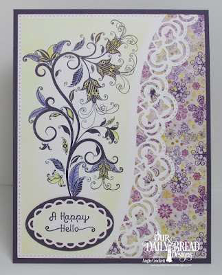 ODBD Stamps: A Happy Hello, Paper Collection: Whimsical Wildflowers, Custom Dies: Leafy Edged Borders, Pierced Rectangles, Ovals, Ornate Ovals