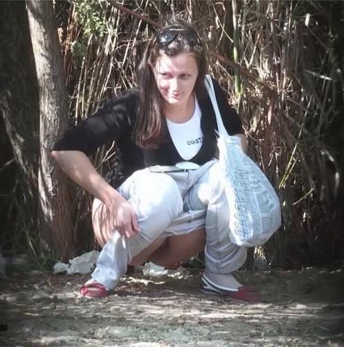PissHunters 9219-9234 (Girls pee outdoors hidden camera. Hidden cam in public toilet)