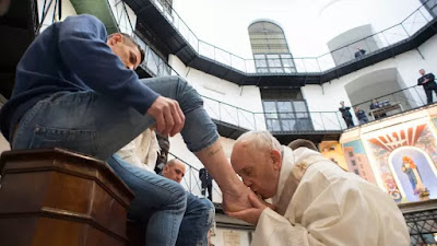 Pope Francis visited a prison on Holy Thursday to wash the feet of some inmates