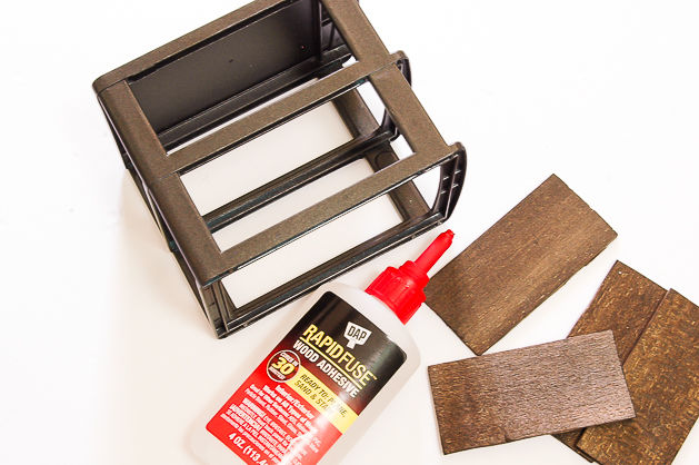Gluing wood to Dollar Tree storage drawers