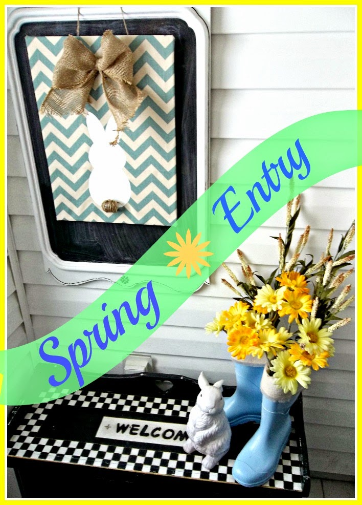 Spring Entryway - A bright and cheery entryway with yellow and blue, chevron bunny sign
