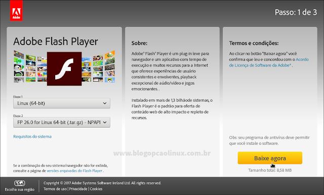 Selecione a arquitetura do seu sistema operacional e a versão NPAPI do Adobe Flash Player (.tar.gz)