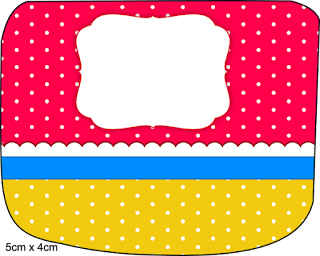 Red, Light Blue and Yellow Free Printable  Labels.