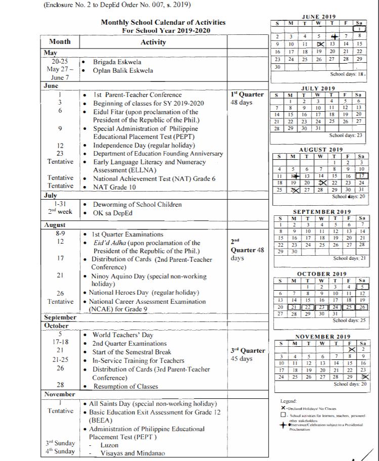 Quotes Teacher Calendar 2019 2020: OFFICIAL SCHOOL CALENDAR SY 2019-2020 (DO 007, S. 2019