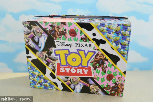 base of shoe box with colourful Irregular Choice Toy Story prints in diagonal sections