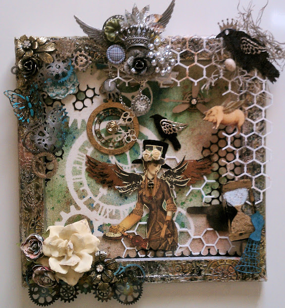 Steampunk Mixed Media Art On Canvas