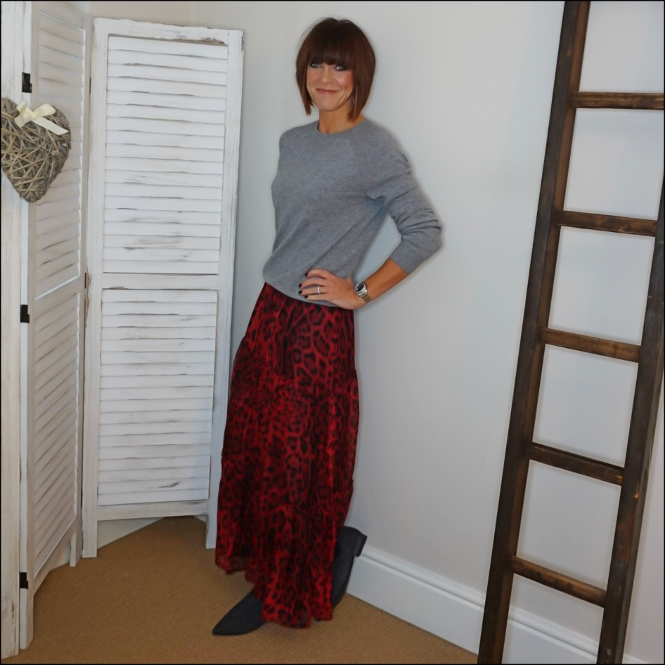 my midlife fashion, h&m cashere crew neck jumper, messages in metal inital necklace, ridley london carmen leopard print maxi skirt, madeleine suede ankle boots