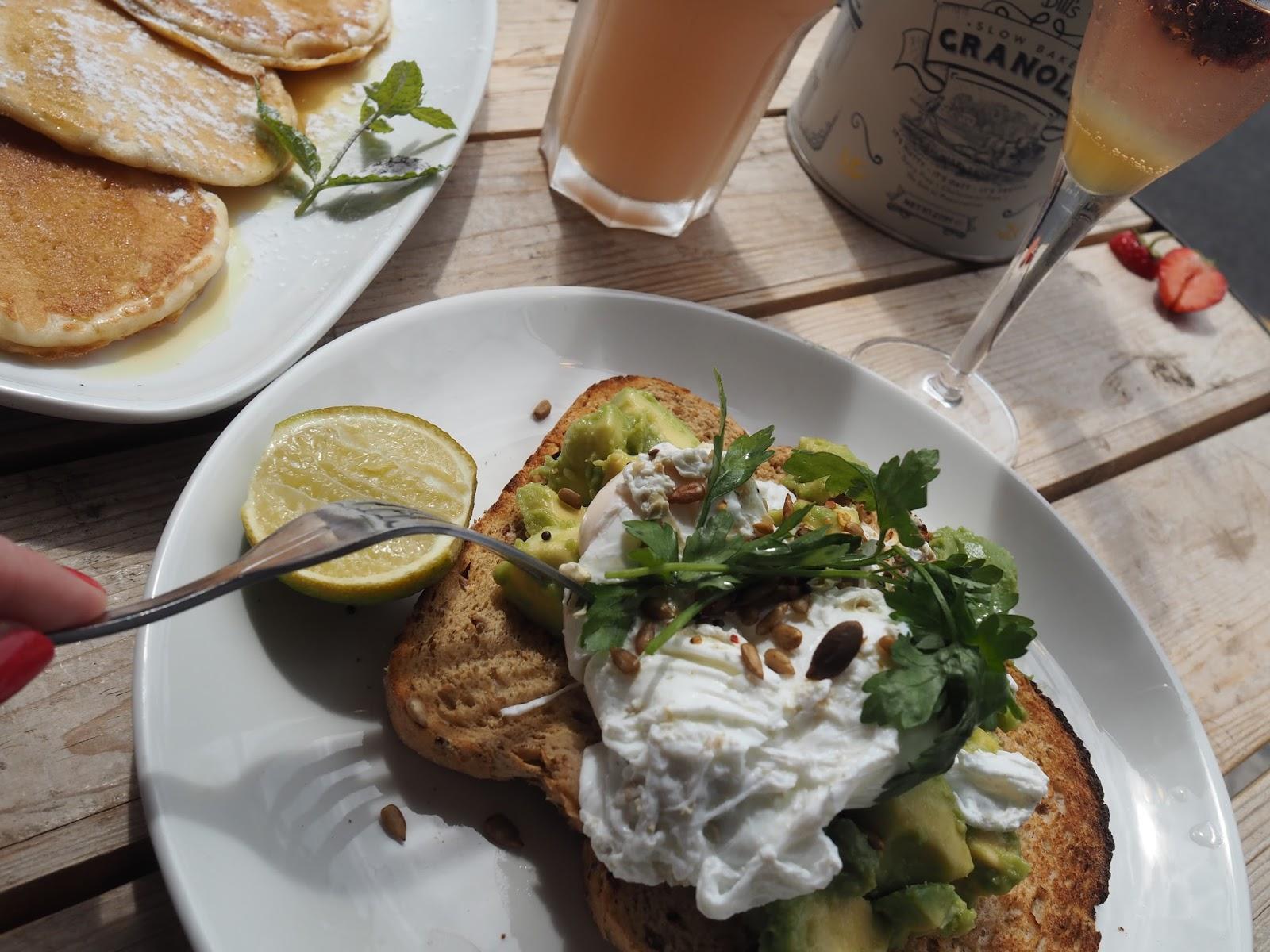 Avocado and poached egg on toast, Bills restaurant, Brighton
