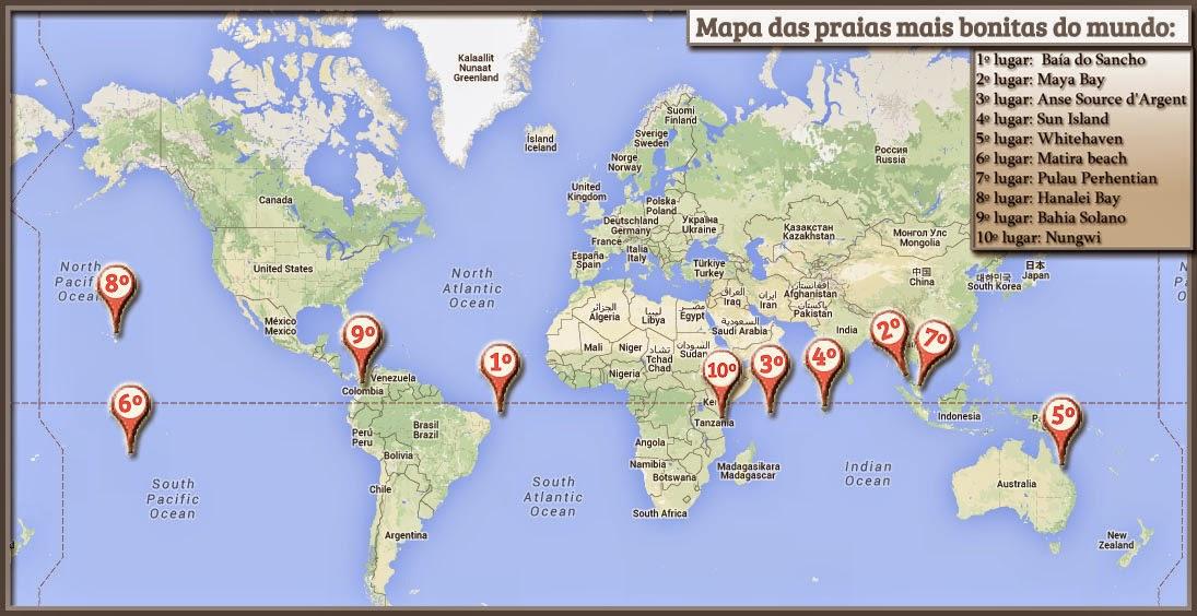 Mapa das praias mais bonitas do mundo