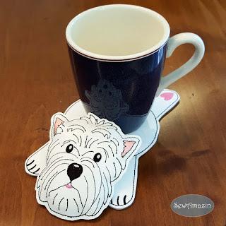 West Highland Terrier Decorative Coaster, Mug Rug