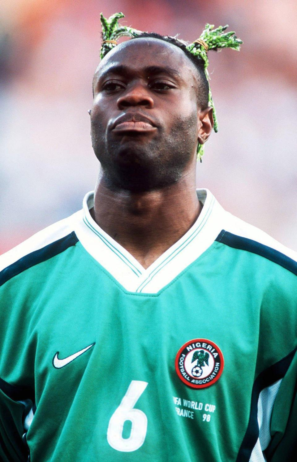 Taribo West's bleached green bunches were voted the worst by global voters