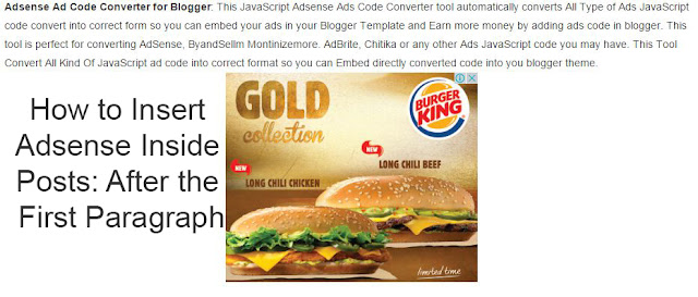 How to Insert Adsense Inside Posts: After the First Paragraph