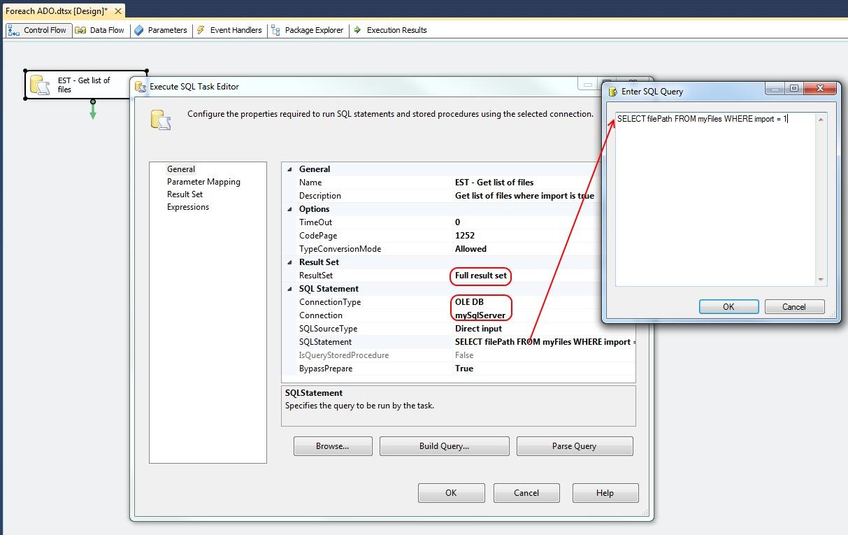 Microsoft SQL Server Integration Services: How to configure a