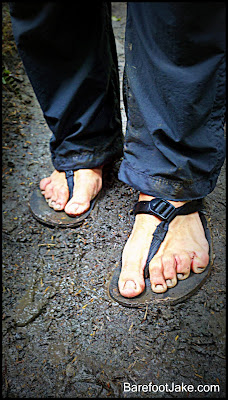 barefoot in rainforest mud