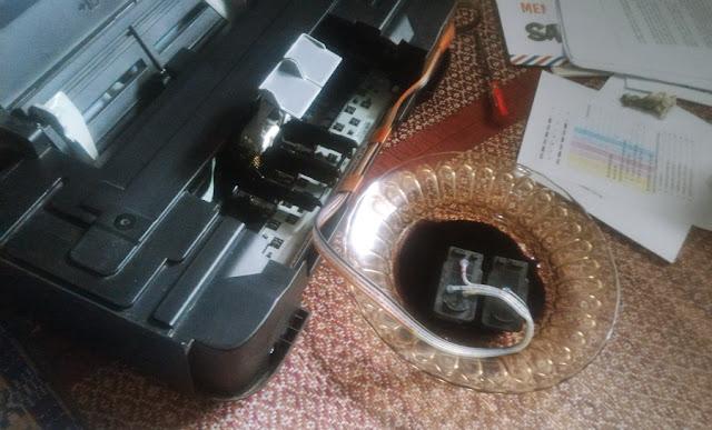 Proses Merendam Cartridge, canon ip2770, tinta kering