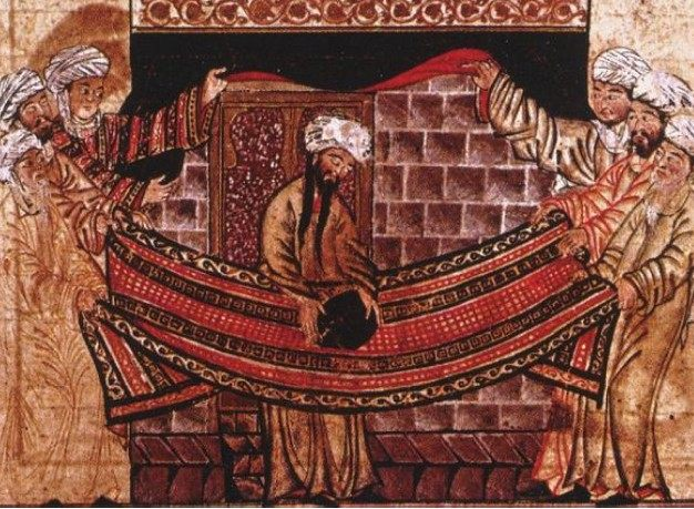 Miniature from Rashid-al-Din Hamadani's Jami al-Tawarikh, c. 1315, illustrating the story of Muhammad's role in re-setting the Black Stone in 605. (Ilkhanate period)