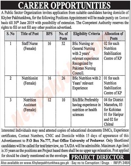 NTS latest Jobs In Public Sector Organization Peshawar