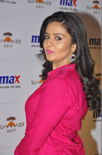 SreeMukhi At Max Summer Collection Launch Event Stiils