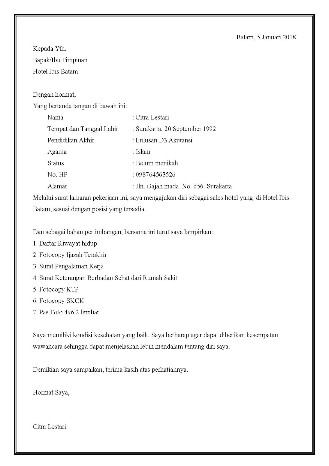 Contoh surat lamaran kerja di hotel untuk sales hotel dalam bahasa indonesia
