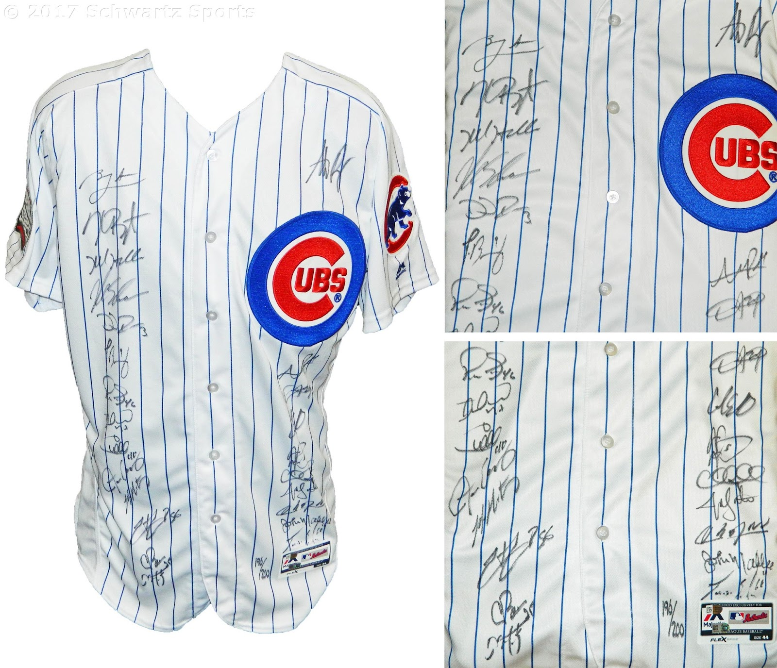 a689758bc Team Signed Chicago Cubs Jersey - 2016 Chicago Cubs team signed Chicago Cubs  Ben Zobrist  18 white pinstripe Majestic replica jersey with 2016 World  Series ...