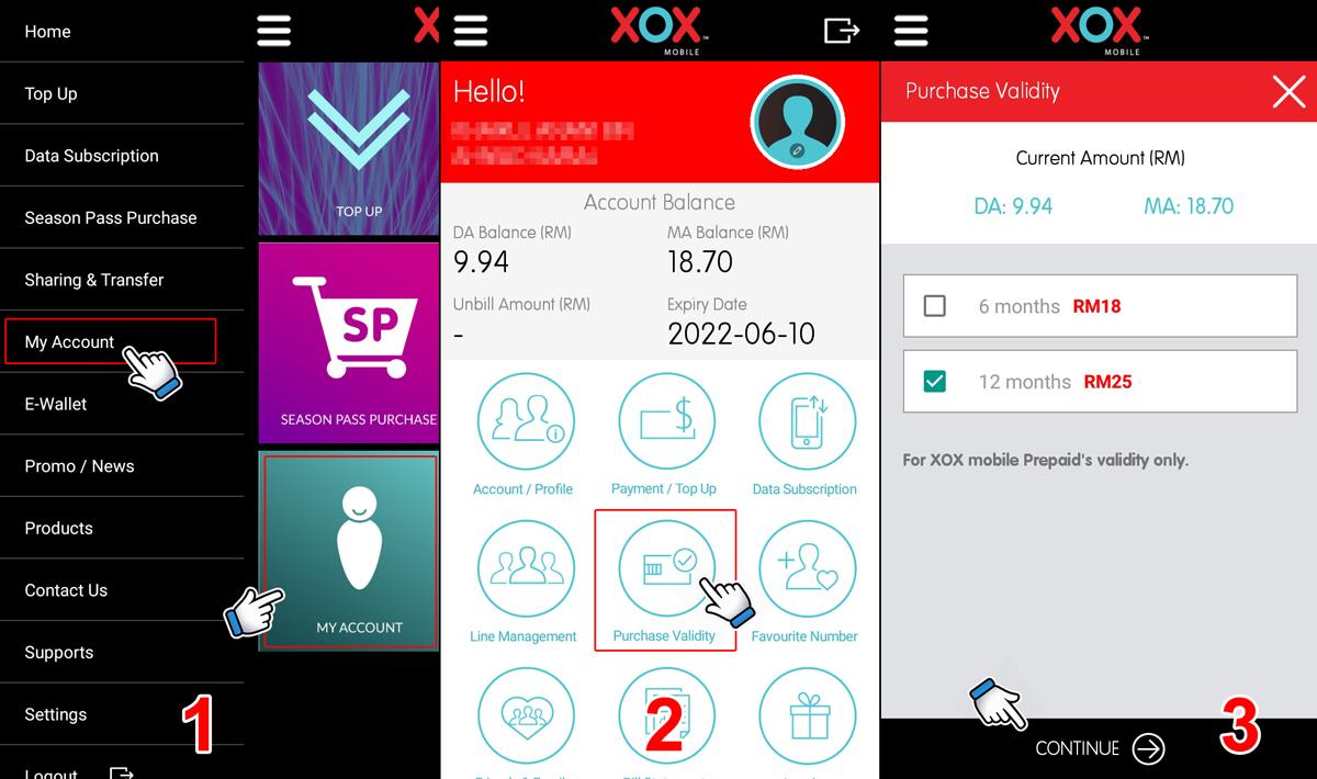 Beli tempoh aktif melalui aplikasi MyXOX