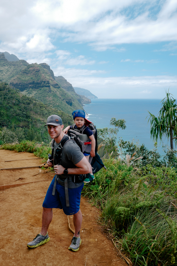 Na Pali coast hike with a toddler in an Osprey pack