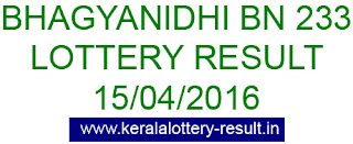 Kerala lottery result, Bhagyanidhi Lottery result, Bhagyanidhi BN-233 lottery result, Today's Bhagyanidhi Lottery result, 15/04/2016 Bhagyanidhi Lottery result, Bhagyanidhi BN 233 lottery result, Bhagyanidhi BN233 lottery result.