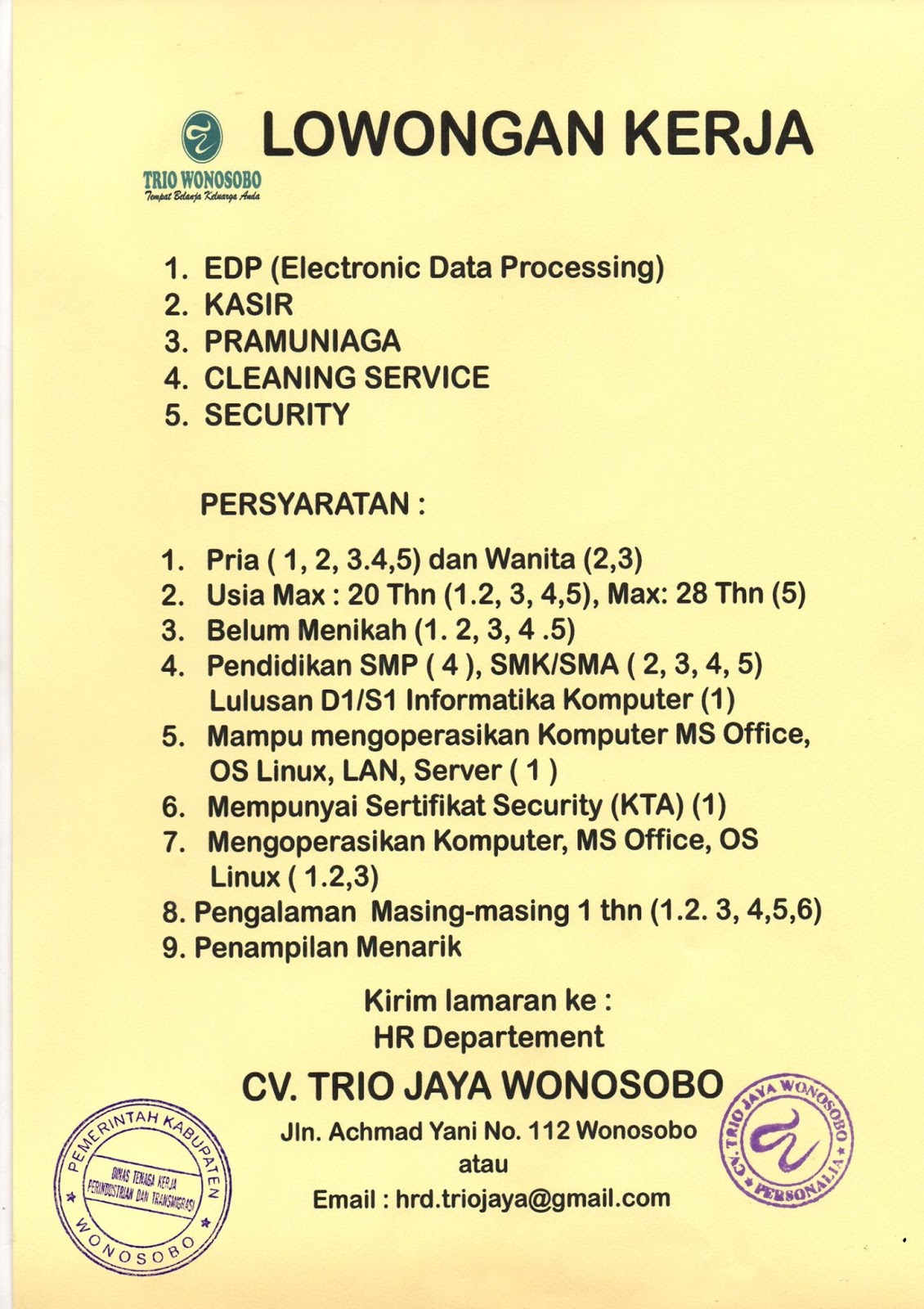 Loker Wonosobo Terbaru