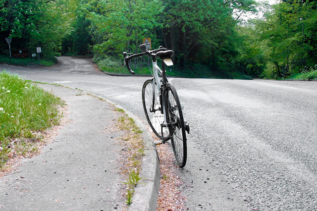road bike at a crossroads