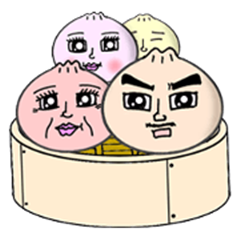 a steamed meat bun family.(Taiwanese)