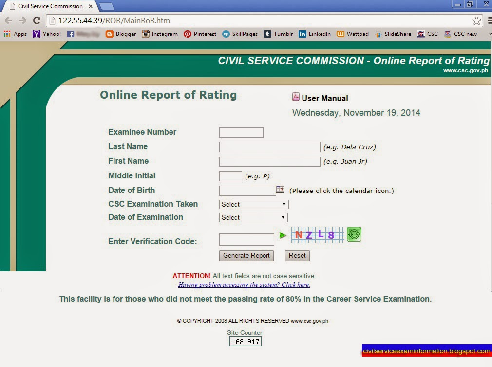 Civil Service Exam Ph Civil Service Online Report Of Rating Ror
