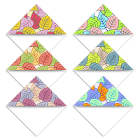 Set of six Autumn leaves patterned printable bookmark corner page markers in six colours sample print.