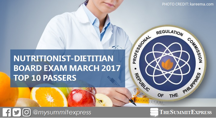 Top 10 Passers: March 2017 Nutritionist Dietitian board exam Topnotchers
