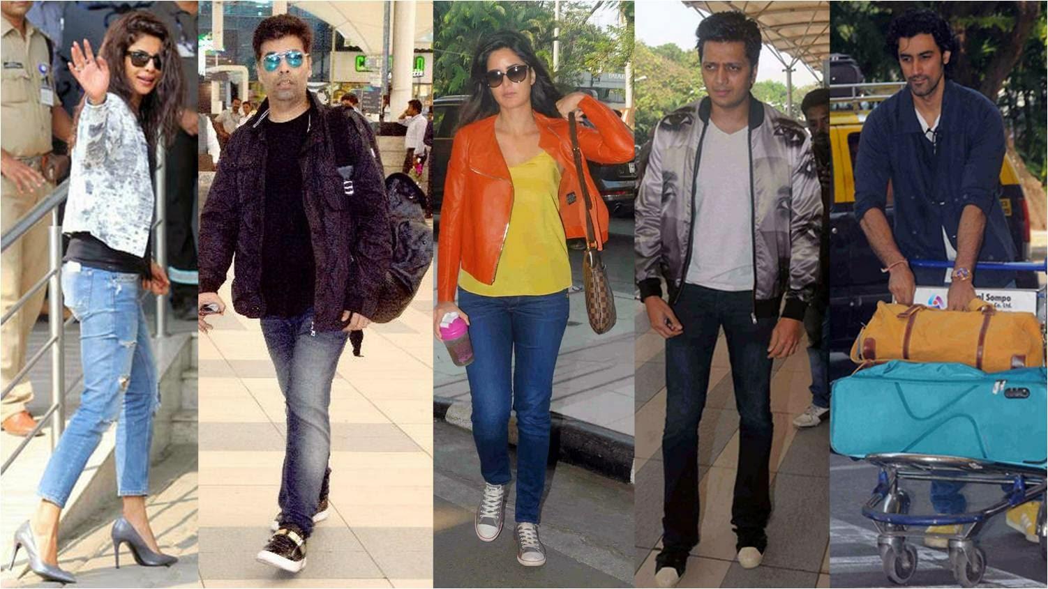 Priyanka Chopra, Karan Johar, Katrina, Ritesh Deshmukh, Kunal heading for Arpita Khan's wedding at Hyderabad