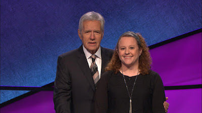 Female Orthodox Rabbi Marianne Novak with Alex Trebek on Jeopardy