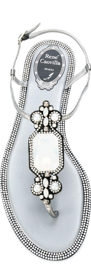 RENÉ CAOVILLA Embellished Flat Sandal