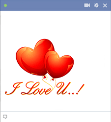 I Love U Hearts Sticker for Facebook