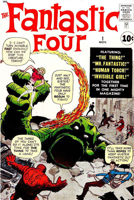 Fantastic Four v1 #1, 1961 Marvel silver age comic book cover by Jack Kirby