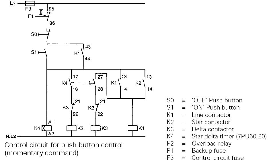 Typical circuit diagram of Star Delta starter | PLC, PLC
