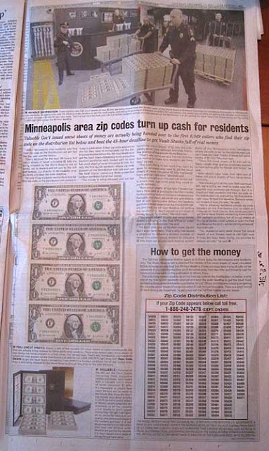 World Reserve Monetary Exchange ad for uncut $1 bills