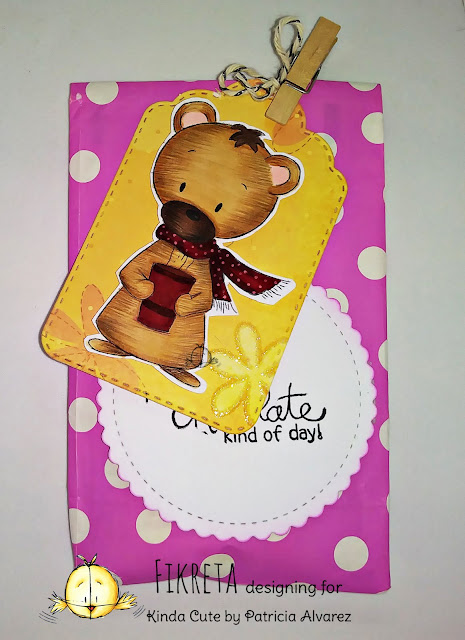 Gift bag using bear with cup