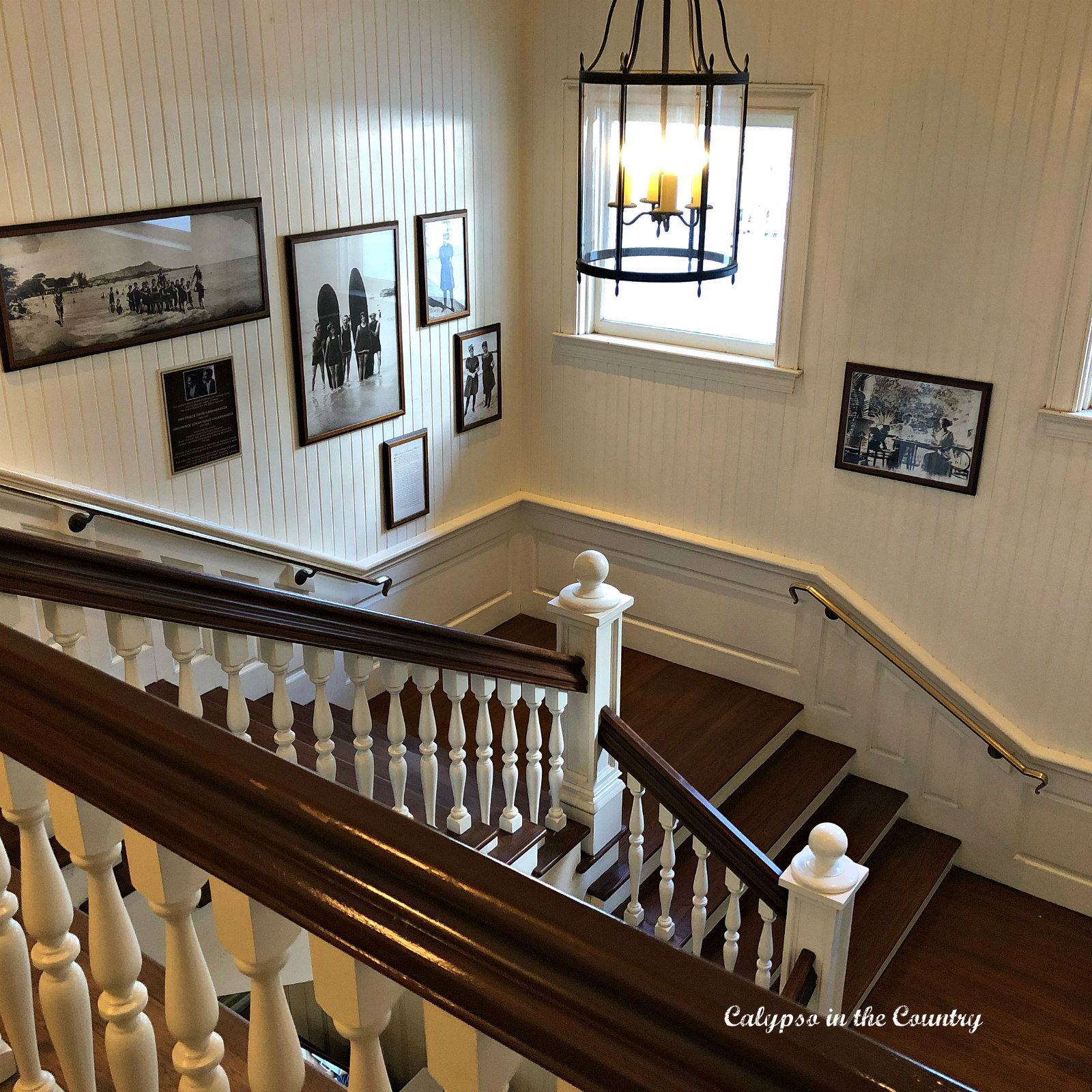 Classic staircase with beadboard paneling - our favorite hotel in Waikiki