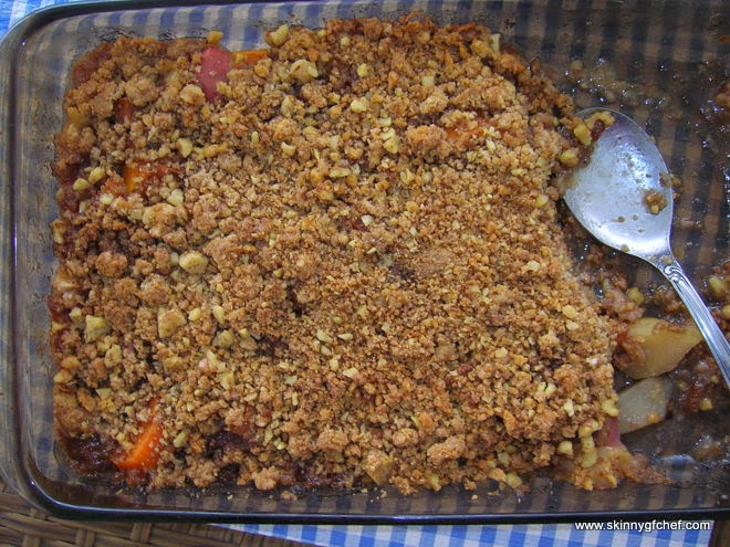 Easy and delicious Gluten Free Apple Crisp gets it's great flavor, extra fiber and vitamins from sweet potatoes! I topped it with gluten free cookie crumble for a rare treat.