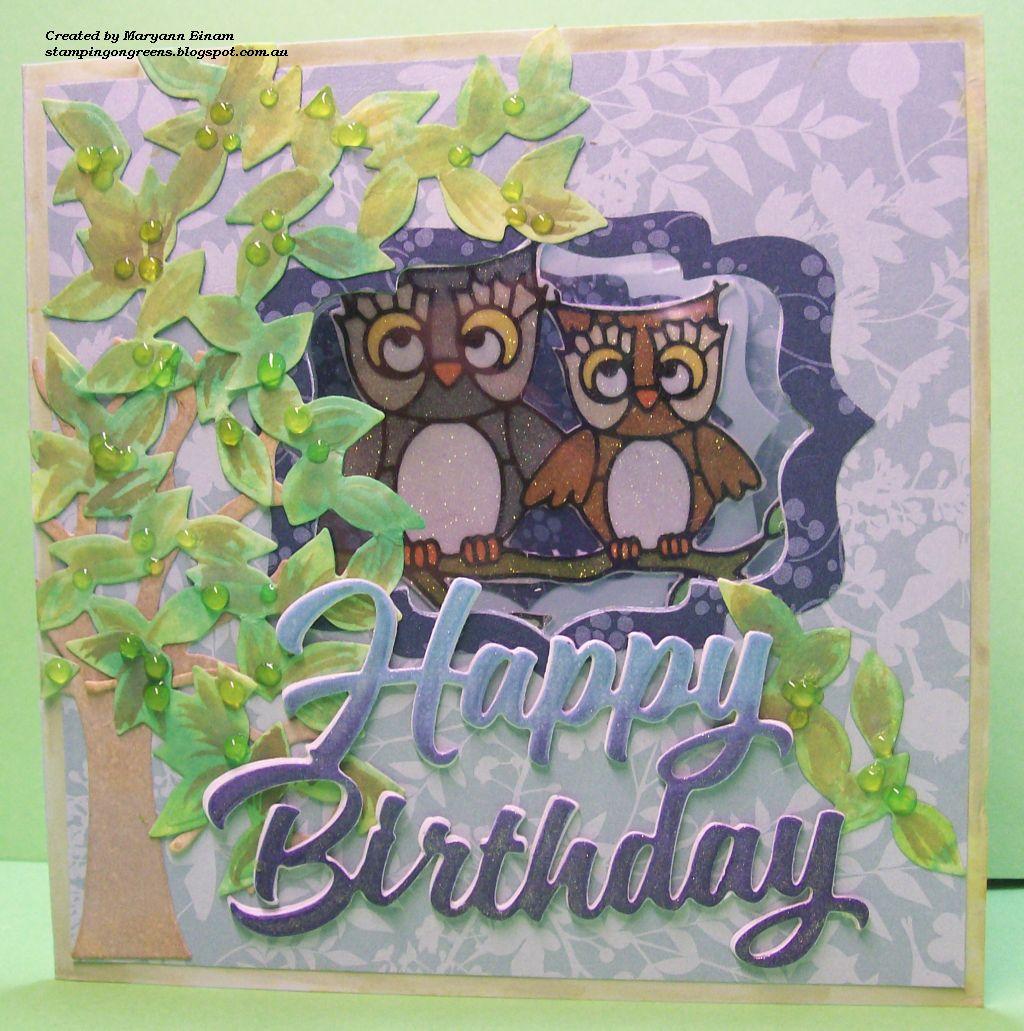 Stamping On Greens Happy Birthday Hoots
