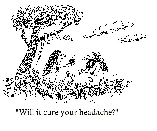 Funny Garden of Eden Adam and Even Will it cure your headache Cartoon Picture