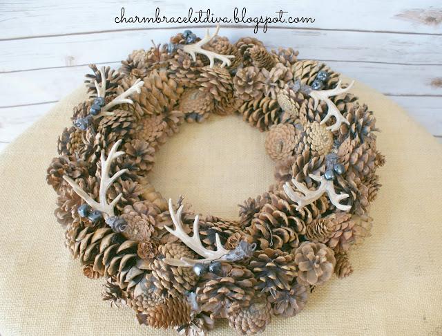 DIY pine cone antler wreath rustic