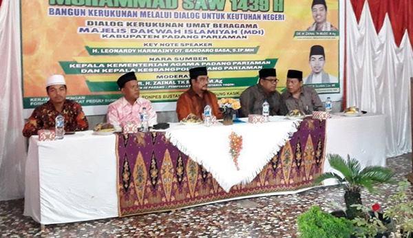 Leonardy Hadiri Dialog Kerukunan Umat Beragama oleh MDI Padangpariaman