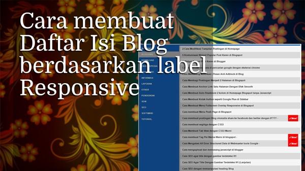 Cara Membuat Daftar Isi Blog berdasarkan label | Responsive