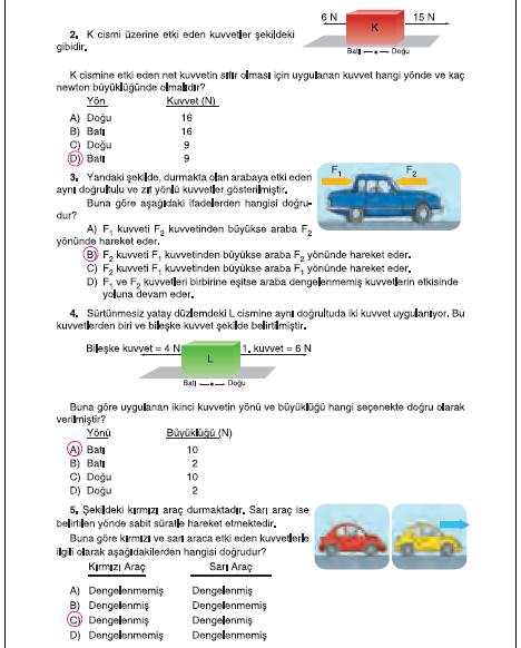 6. Sınıf Tuna Matbaa Yayınları Fen Bilimleri Ders Kitabı 83. Sayfa Cevapları Bileşke Kuvvet Öğrendiklerimizi Değerlendirelim
