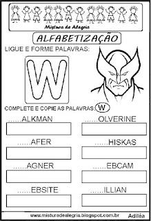 Atividades de alfabetização letra W